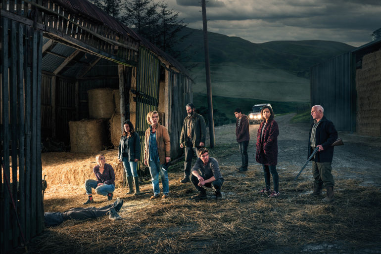 Retribution, Netflix, Picture shows: Claire Elliot (JOANNA VANDERHAM), Moira Douglas (JULIE GRAHAM), Louise Elliot (JULIET STEVENSON), Bill Douglas (JOHN LYNCH), Rob Elliot (JOE DEMPSIE), Jamie Douglas (CRISTIAN ORTEGA), Anna (GEORGINA CAMPBELL) and Alastair (GARY LEWIS)