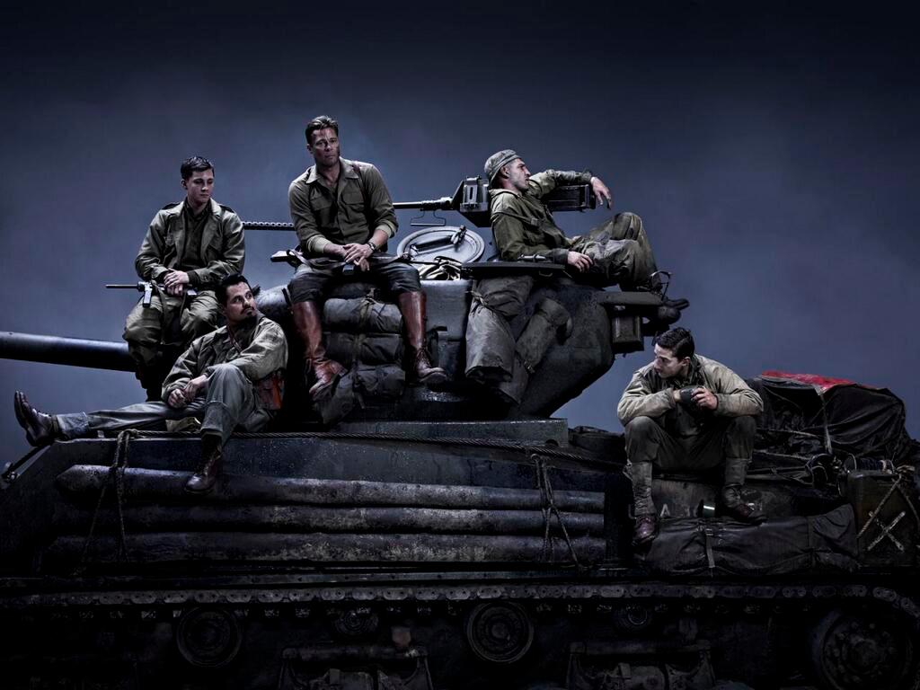 """Erstes Filmbild aus dem Kriegsdrama """"Fury"""" mit  Brad Pitt, Shia LaBeouf und Logan Lerman"""
